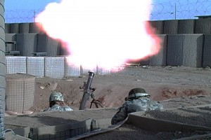 Polish troops launch mortar from FOB Waza Khwa