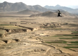 Chinook over ravines in east Afghanistan