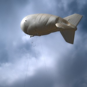 PTDS aerostat over FOB Loyalty, East Baghdad, after lightning strike