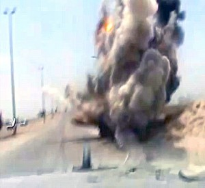 video frame of an IED explosion, Iraq