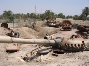 Destroyed tanks on Camp Slayer, VBC, Baghdad